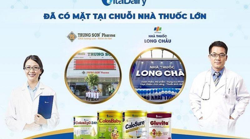 Vitadairy có mặt tại hệ thống nhà thuốc Long Châu và Trung Sơn